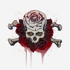 Skull and roses, with crossbones and droplets of blood.
