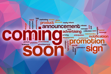 Coming soon word cloud with abstract background