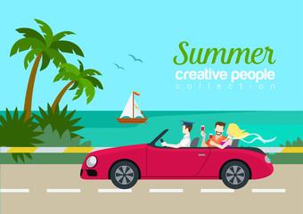 Summer travel couple cabrio car flat web infographic concept
