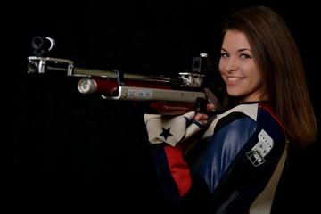 Woman training sport shooting
