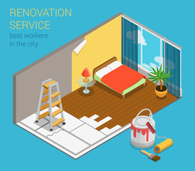 Home renovation service business flat 3d isometric web template