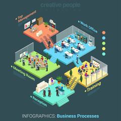 Flat 3d isometric business office floors interior infographics