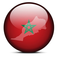 Map on flag button of Kingdom Morocco
