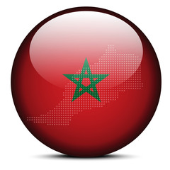 Map with Dot Pattern on flag button of Kingdom  Morocco