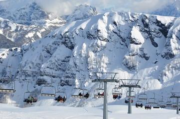 Ski lift in Dolomites Alps, Italy, Europe