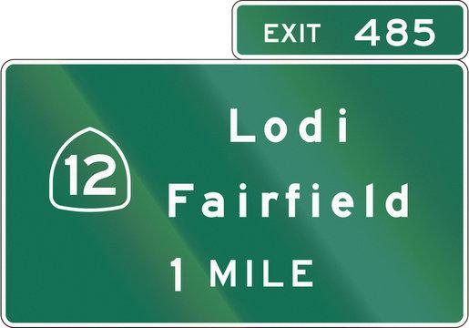 United States Interchange Advance Guide Signs, California