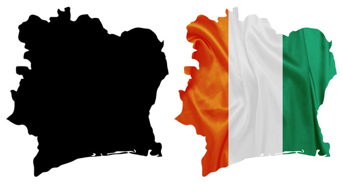 Ivory Coast - National flag on map contour with silk texture
