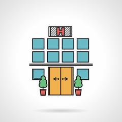 Hospital facade colorful vector icon