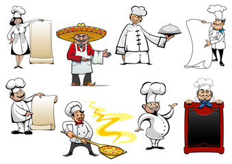 Variety cartoon chefs and bakers
