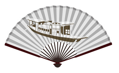 Ancient Chinese fan with Wupeng boat