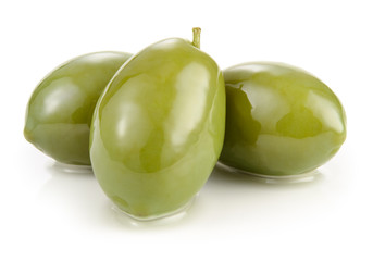 Green olives isolated on white Wall mural