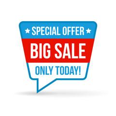 Big sale tag for online shop in flat design. Use on labels