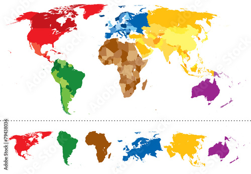 World map continents multicolored\