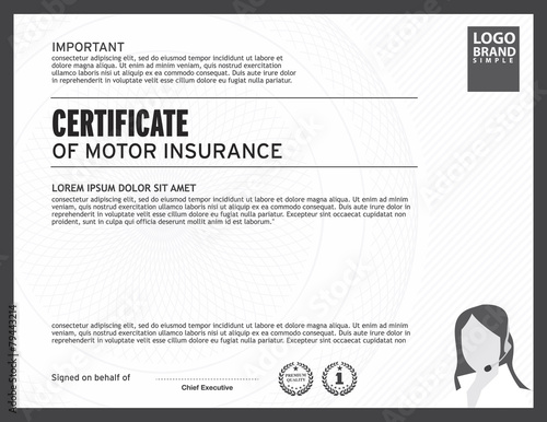 Certificate of motor insurance template stock image and royalty certificate of motor insurance template yelopaper Image collections