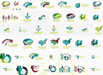 Speech bubble and arrows logo set