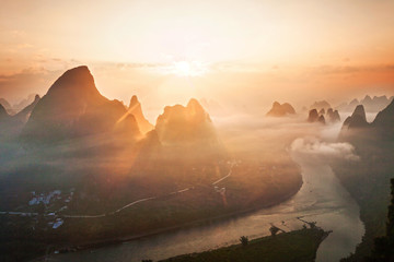 Zelfklevend Fotobehang Guilin sky,mountains and landscape of Guilin