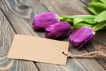 tulips with a card