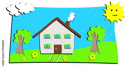 dessin maison avec prairie d 39 enfant fichier vectoriel libre de droits sur la banque d 39 images. Black Bedroom Furniture Sets. Home Design Ideas