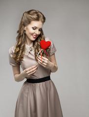 Woman Heart, Love Dreams, Retro Lady Portrait, Valentine Present