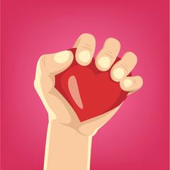 Cartoon hand holds heart. Vector illustration