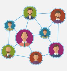 Icons of businessman enclosed in round frame, business teamwork