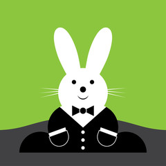 vector sitting smiling Easter bunny with suit