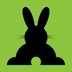 vector sitting black back Easter bunny