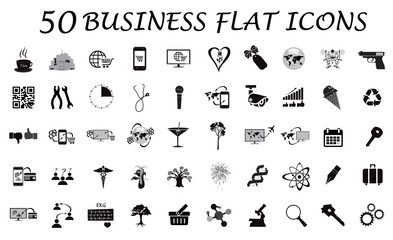 set of business icons, vector, illustration, black
