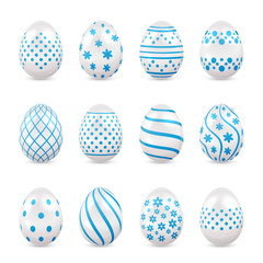 Decorative Easter eggs with blue patterns