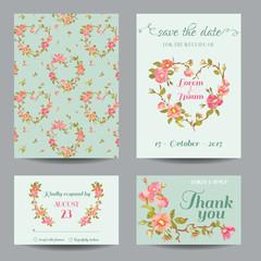 Invitation-Congratulation Card Set - for Wedding, Baby Shower