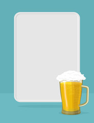 Beer mug with foam. frame for text. Poster