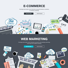 Set of flat design concepts for e-commerce and web marketing.