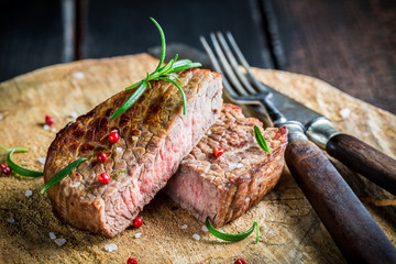 Roasted steak with herbs and spices