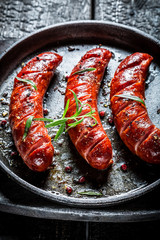 Roasted sausage with fresh herbs