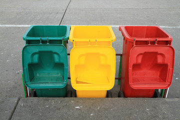 Row of recycle bins