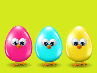 three colored Easter eggs standing on spring green background