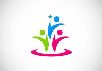 leadership people abstract vector logo