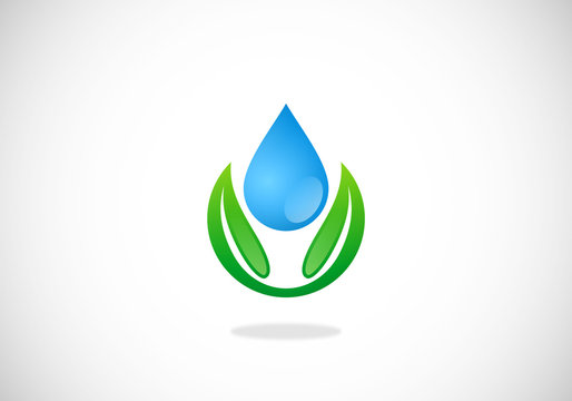 leaf-ecology-water-drop-vector-logo