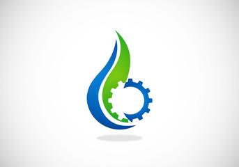 natural water process gear abstract vector logo