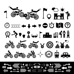 Wall Mural - Motorcycle symbol set
