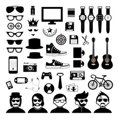 hipster style elements and icons set