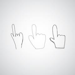 hand icon pointer vector sketch