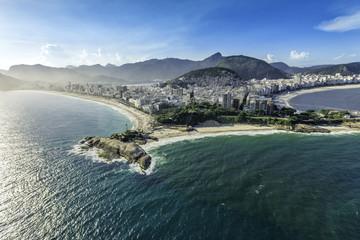 Aerial view of the Copacabana Beach in Rio de Janeiro, Brazil