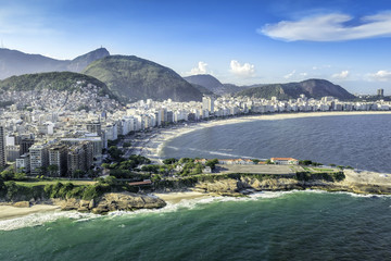 Aerial view of buildings on the Copacabana Beach, Brazil