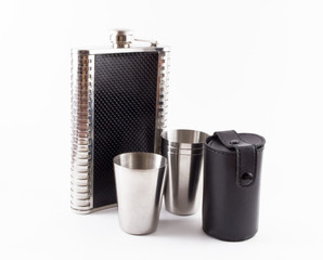 Metal Travel Shot Glasses and Case Hip Flask