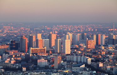 Paris city panorama - aerial view at sunset
