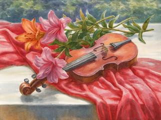 Акварель, натюрморт со скрипкой и лилиями.