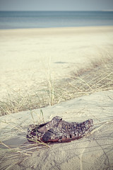 Retro filtered shoe washed up on a beach.