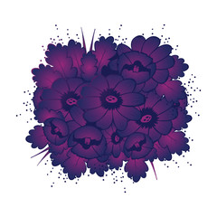Pattern with violet flower seamless vector illustration