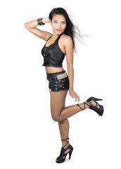 woman dressed in black leather